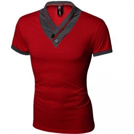 T-Shirt Col V Rouge