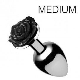 Booty Sparks Plug Bijou avec Rose noire - 7.5 x 3.4 cm MEDIUM