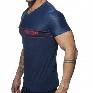 Addicted T-shirt V-NECK COMBI MESH Marine