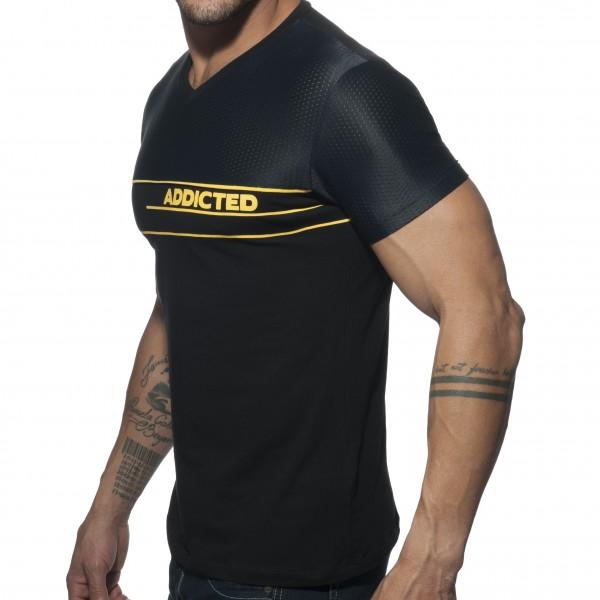 T-shirt V-NECK COMBI MESH Noir