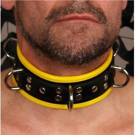 Cockpik Collier en cuir noir et jaune
