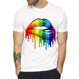 T-shirt LIPS RAINBOW Blanc