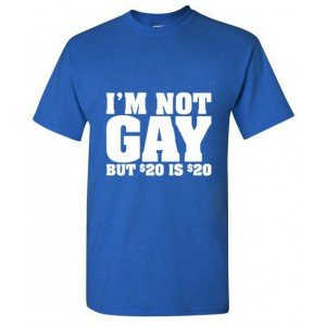 T-shirt I am Not gay bleu
